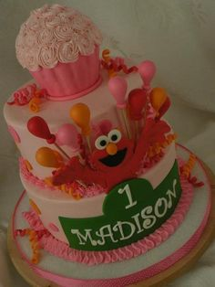 "Photo 1 of 21: pink and orange polka dot girly Elmo / Birthday ""Madison is one!!"" 