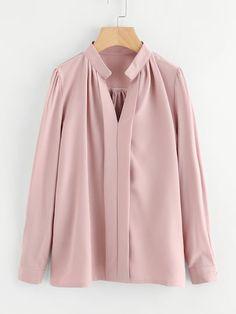 Shop Plus Solid V-neck Blouse online. SHEIN offers Plus Solid V-neck Blouse & more to fit your fashionable needs. Blouse Col V, V Neck Blouse, Collar Shirts, Shirt Blouses, Faux Col, Fashion News, Fashion Outfits, Moda Plus Size, Mode Hijab