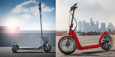 À gauche : la Peugeot Hybrid Kick. À droite : la Mini CitySurfer.