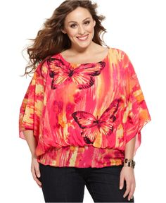 Style Plus Size Top, Butterfly Sleeve Printed Blouson Waist - Plus Size Tops - Plus Sizes - Macy's