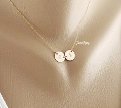 Two Initial charm Necklace Monogram disc Jewelry 14K by JustGifty