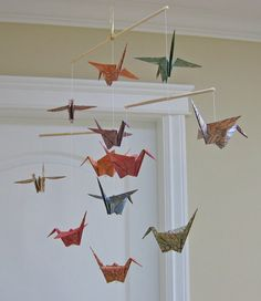 Origami Crane Mobile  Chiyogami Print Kraft Papers  by MadeByJo, $25.00