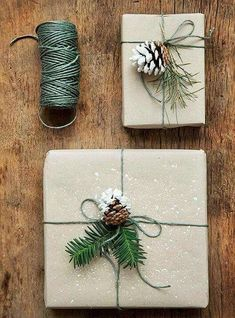 21 Christmas Gift Wrapping Ideas That Make Anyone Look Like a Decorating Professional - First for Women Creative gift wrapping is that special final touch your presents need this year, and these easy crafting ideas help you get it done without the stress Noel Christmas, Winter Christmas, All Things Christmas, Christmas Crafts, Christmas Ideas, Christmas Glitter, Christmas Traditions, Natural Christmas Decorations, Cheap Christmas