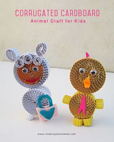 Making adorable little animals with strips of colored corrugated paper is a great craft to try out with the kids, and very full of creative possibilities! And if you choose to make a little lamb and a chick, you'll get...