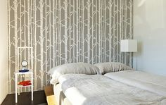 Birch Forest Wall Stencil Decorative Scandinavian wall stencil for DIY project - Wallpaper look and easy Home Decor