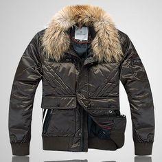 Latest Moncler Men Fur Collar Fashion Jackets Army Green For Sale - $203.15 Buy cheap Moncler Coat  by www.monclerlines.com/men-moncler-jacket-c-1.html