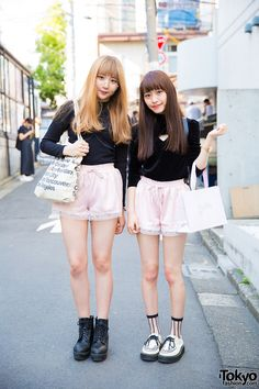 """pair look"" / ""matching couple outfits"" (it's popular in Japan for friends to dress in the same/similar outfits; in China & Korea this is typically only done by couples that are dating) ... Shiori (left, 19 years old) & Kanami (right, 18 years old, fashion model) 