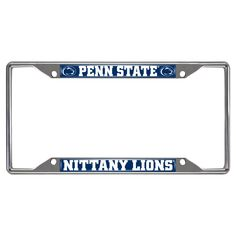 "Penn State License Plate Frame 6.25x12.25 - License plate frames are a great way to accessorize your vehicle and show off your team pride. Real chrome metal keeps them looking great season after season. Eye-catching team name and logo in true colors. Fits perfectly around license plates without covering your registration sticker (if applicable). Size is 12.25"" x 6.25"".FANMATS Series: LICPLATEFRAMETeam Series: Penn StateProduct Dimensions: 6.25""x12.25""Shipping Dimensions: 12.25""x6.25""x0.5""…"