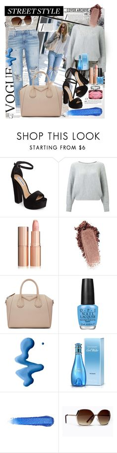"""""""Street style"""" by gianna-pellegrini ❤ liked on Polyvore featuring Current/Elliott, Steve Madden, Miss Selfridge, Givenchy, OPI, Topshop, Davidoff and Gucci"""