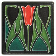 4x4 Lotus - Red from Motawi Tileworks