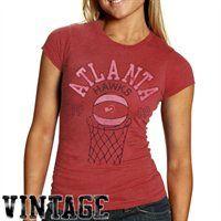 Atlanta Hawks Ladies Heather Retro Logo Premium T-Shirt