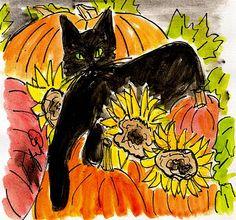 Fifi Flowers Painting du Jour Gallery: Halloween Kitty
