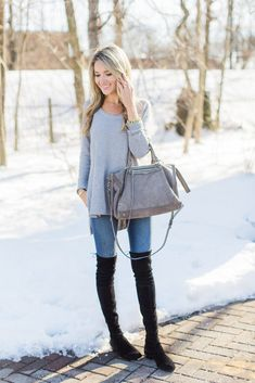 Side Slit Gray Sweater with OTK Boots | Blonde Expeditions