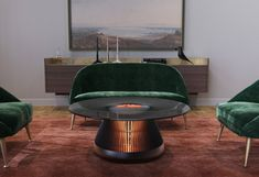 San Francisco-based Industrial Craft reimagines the coffee table as The Hearth of the home, with a turn-to-warm design.