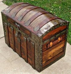 Refinished Antique Dome Top Trunk w/Tray Circa 1890