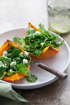 Roasted Winter Squash Salad with Goat Cheese and Pine Nuts  @Delphine Soubry Bril in the Kitchen