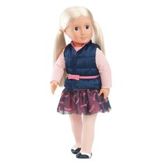 "Your little one will love the Holly 18"" Doll from Our Generation. Holly has beautiful platinum blonde hair and lifelike features. The doll comes with a cute removable outfit and shoes. Your little lady will have hours of fun playing make believe with Holly. Grab other fun accessories for her doll from the Our Generation collection (sold separately)."