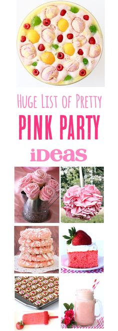 Pink Party Ideas! HUGE list of fun pink punch recipes, pink decor, pink food, and more for the prettiest birthday party, baby shower, or bridal shower!   TheFrugalGirls.com