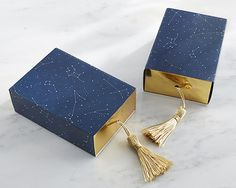 Constellation Slide Favor Box with Gold Foil and Tassel Set of 24 Navy Blue Gold…