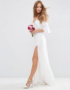 ASOS | ASOS BRIDAL Cold Shoulder Button Ruffle Maxi Dress