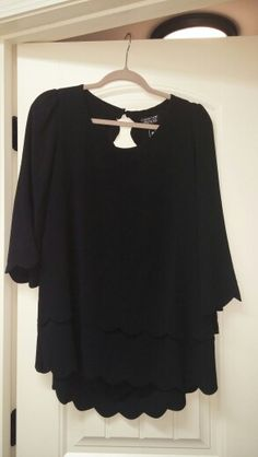Papermoon-Violeta 3/4 sleeve blouse-hello!! I love it! The scallopped detailing, the open back. Its a keeper!