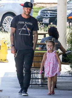 Father-and-daughter day out: David, 40, treated his four-year-old daughter to lunch at Tender Greens