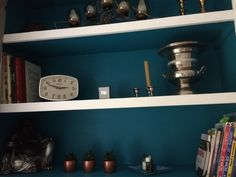 Don't you just love #teal - recent shelving makeover for brother in law