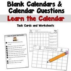 Blank Calendars and Calendar Questions by Teacher's Take-Out | TpT Homework Calendar, Blank Calendar, Kids Calendar, Monthly Planner Printable, Printable Calendar Template, Calendar Worksheets, Reading Resources, Classroom Resources, 2nd Grade Classroom