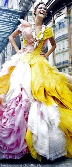 White, yellow and pink evening gown
