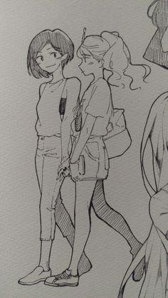 Imagem de bubblegum, marceline, and princess Anime Drawings Sketches, Anime Sketch, Cool Drawings, Anime People Drawings, Sketch Art, Cartoon Drawings, Marceline And Bubblegum, Lesbian Art, Arte Sketchbook