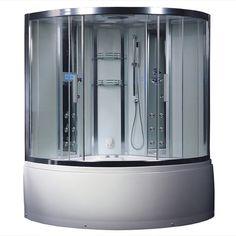 Ariel Platinum DA324HF3 Steam Shower with Whirlpool Bathtub 59x59x89