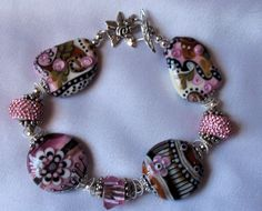 Schwarzwald Sunset  European Lampwork Bracelet  by therodeorose, $175.00