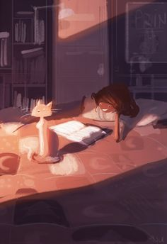 Coziness : a warm blanket, a spot of sunlight and someone to scratch my back.  #pascalcampionart