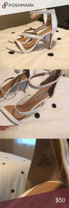 Steve Madden white heels Bought these to wear for a beach wedding. They were worn once for less than an hour. Brand new. Perfect condition. Bought them from DSW for $70. ☺️ Steve Madden Shoes Heels