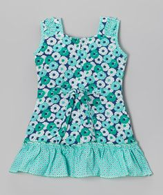 Another great find on #zulily! Blue Floral & Polka Dot Dress - Infant, Toddler & Girls #zulilyfinds