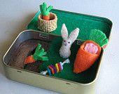 Bunny rabbit garden miniature felt play set in Altoid tin