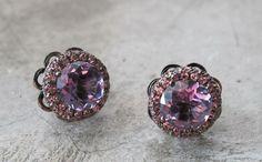 Gorgeous Purple Amethyst Earrings with Peach Sapphire Amethyst Earrings Sapphire Earrings- February Birthstone September Birthstone Earrings on Etsy, $349.99