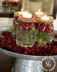 BETTER LATE THAN NEVER-MASON JARS IN TEA LIGHTS- cranberries-stonegableblog.com