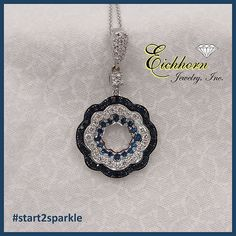 18K white gold Pendant with .70 carat total weight Blue Sapphires and .69 carat total weight Diamonds. Shown on a 14K chain.  #start2sparkle
