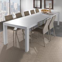 tavolo allungabile artistico con basamento in metallo bianco m306 ... - Tavolo Soggiorno Quadrato Allungabile