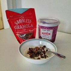 I've been craving yogurt. I used to buy #Chobani Flip in bulk at @Costco but they no longer sell it.  Went to #TraderJoes yesterday and had a sample of their Greek Vanilla Yogurt and Grainless Granola!  Yum!