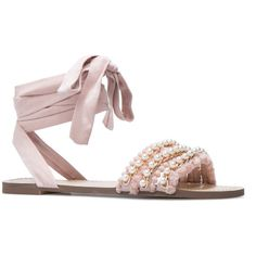 e7d8f682ab56 ShoeDazzle Flat Sandals Lene Womens Pink ❤ liked on Polyvore featuring shoes