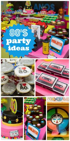 A 40th birthday party with photo booth props, a retro candy buffet and toys and decorations from the 80's!  See more party ideas at CatchMyParty.com!