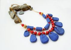 Ancient Egypt necklace blue red gold bib multiwire by Tuttosicrea