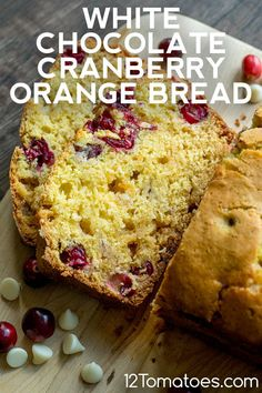 A one-bowl quick bread that's perfect for the winter season. Poke Cake Recipes, Dessert Recipes, Cranberry Orange Bread, Cranberry Cookies, Cranberry Recipes, White Chocolate Muffins, Baking Recipes, Baking Ideas, Bread Recipes