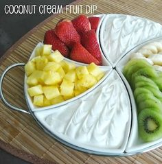 Recipe for Coconut Cream Fruit Dip - I was blown away by how simple, & refreshing it is paired with the fruit. I also liked how it's easy to make. Great dip to try at home or bring with fruit for a summer potluck!