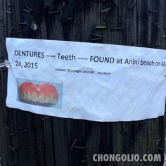 Spotted in Kapa'a Town while walking with the visiting Drat clan. I hope who ever lost their chompers likes poi and pog! #chongolio #PhotoFriday15