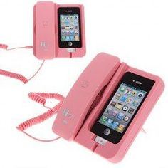 iPhone Phone Dock So umm.if you have this, why have the iPhone? Just go back to the corded phone at home. Iphone Ladegerät, Smartphone Iphone, Iphone Charger, Pink Iphone, Iphone Cases, Cool Ideas, Objet Wtf, Coque Ipod, To Do App