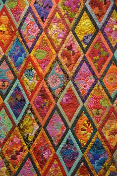 Kaffe Fassett quilt - This image is of the original bordered diamonds quilt from the book Simple Shapes, Spectacular Quilts.