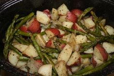 Roasted red potatoes and asparagus recipe from Chew Love